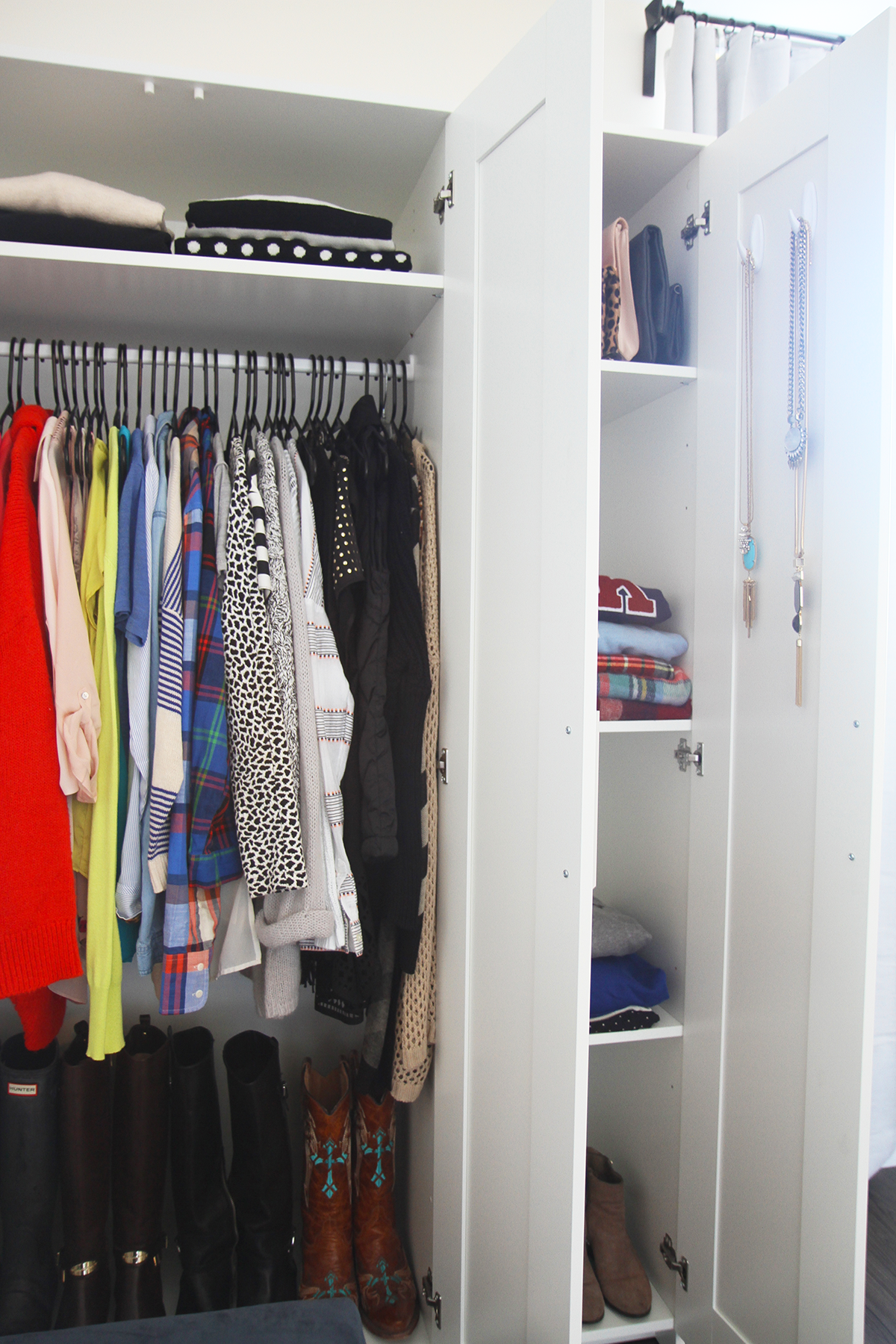 BRIMNES IKEA Wardrobe For A Studio Apartment | Via Ashley Ella Design |  Colorful + Organized