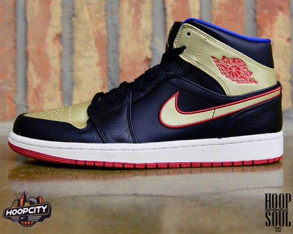 Here is a look at an upcoming release of the Air Jordan 1 Mid. Leather  built, the kicks are set in black and metallic gold with gym red and game  royal acce
