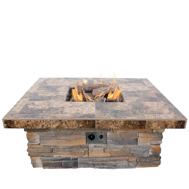 features includes 4 piece log set and lava rocks btu 55 000