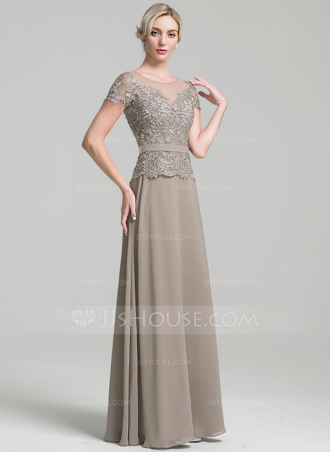 2a41afdc02809 Corte A Princesa Escote redondo Hasta el suelo Gasa Vestido de madrina  (008091955) - JJsHouse