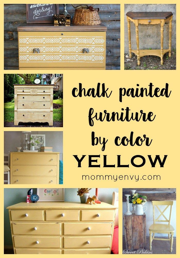Chalk Painted Furniture By Color Yellow Chalk Paint Yellow Painted Furniture Chalk Paint Furniture Colorful Furniture