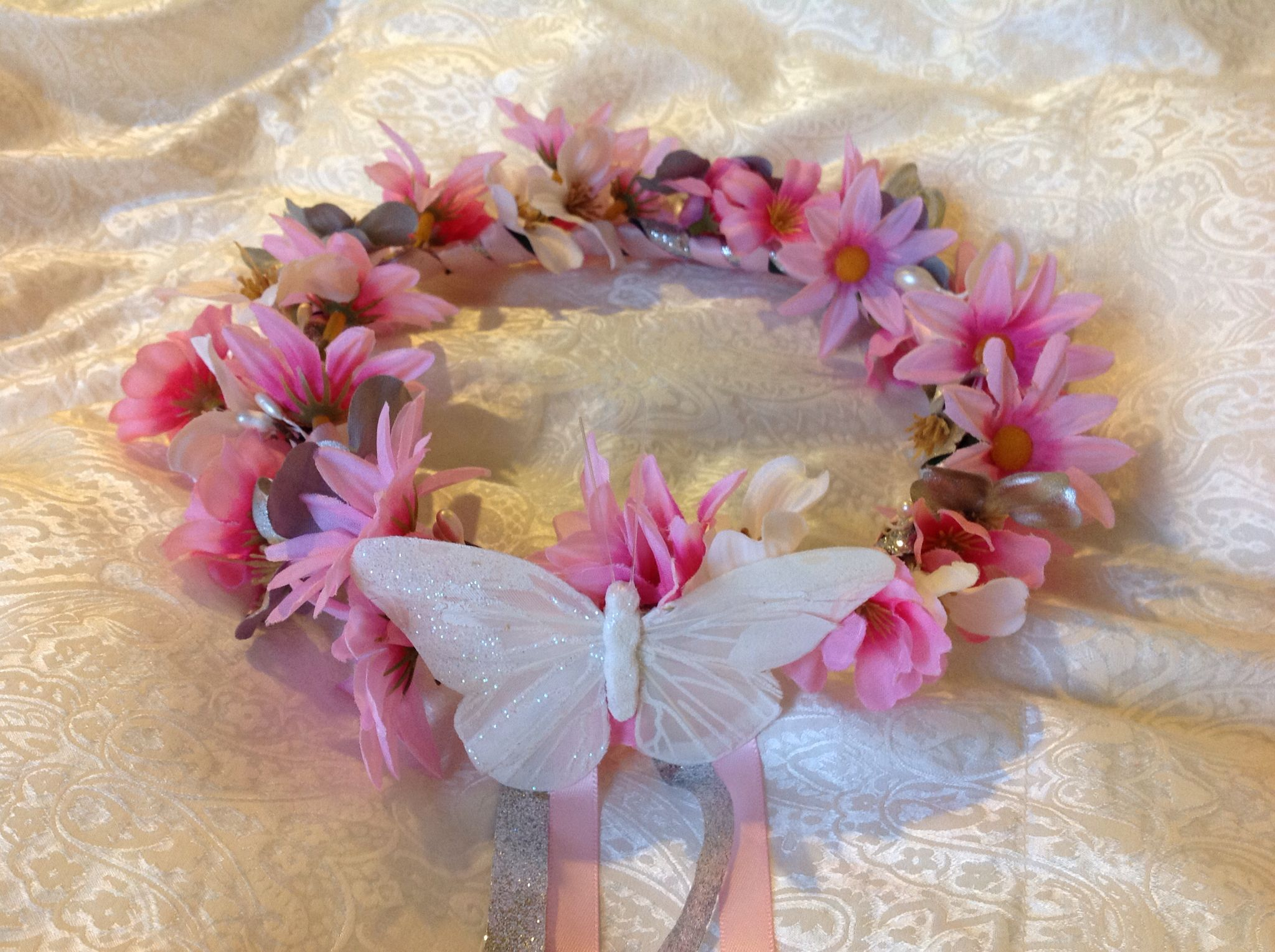 Pink and a silver flower crown for girls 20 montiero designs pink and a silver flower crown for girls 20 izmirmasajfo Image collections