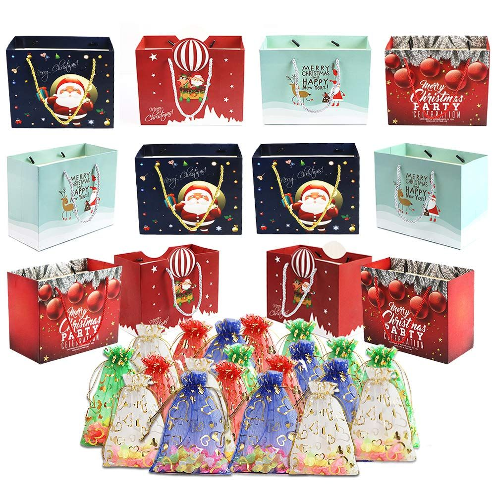 32 Count Christmas Gift Large Bags Bulk Set Wrapping Holiday Assorted Sheer Organza Easy Bags Drawstring Gift Bags for Party Wedding,Christmas Valentine ...