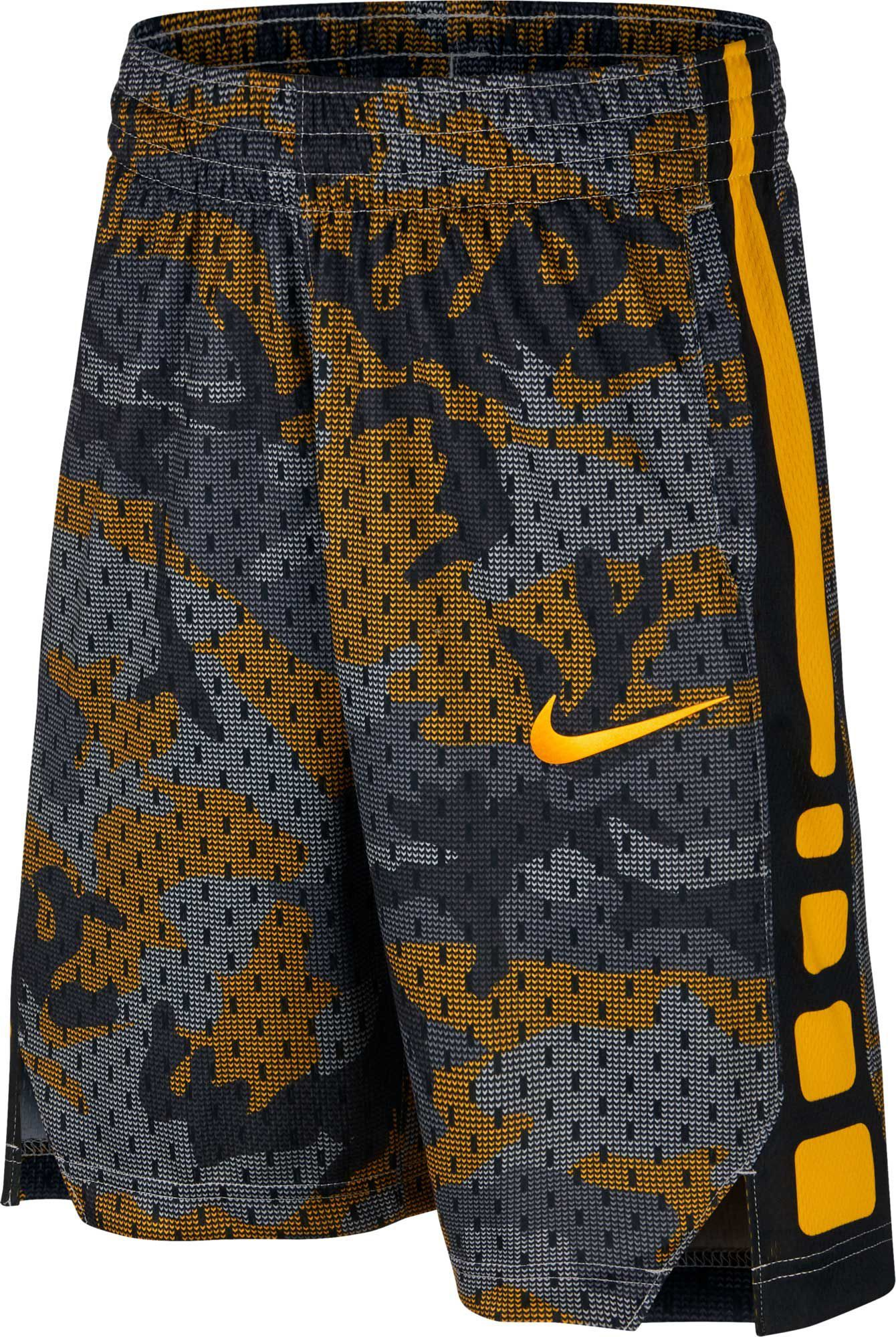 a4ff8e54435 Nike Boys' Dry Elite Camo Print Basketball Shorts, Size: Medium,  Amarillo/Black