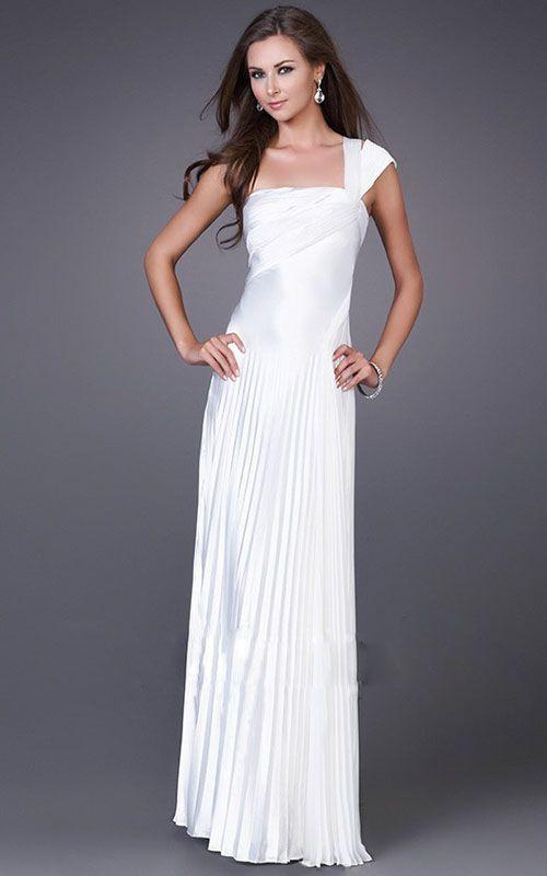 La Femme 12158 One Shoulder White Pleated Prom Night Dress Online ...