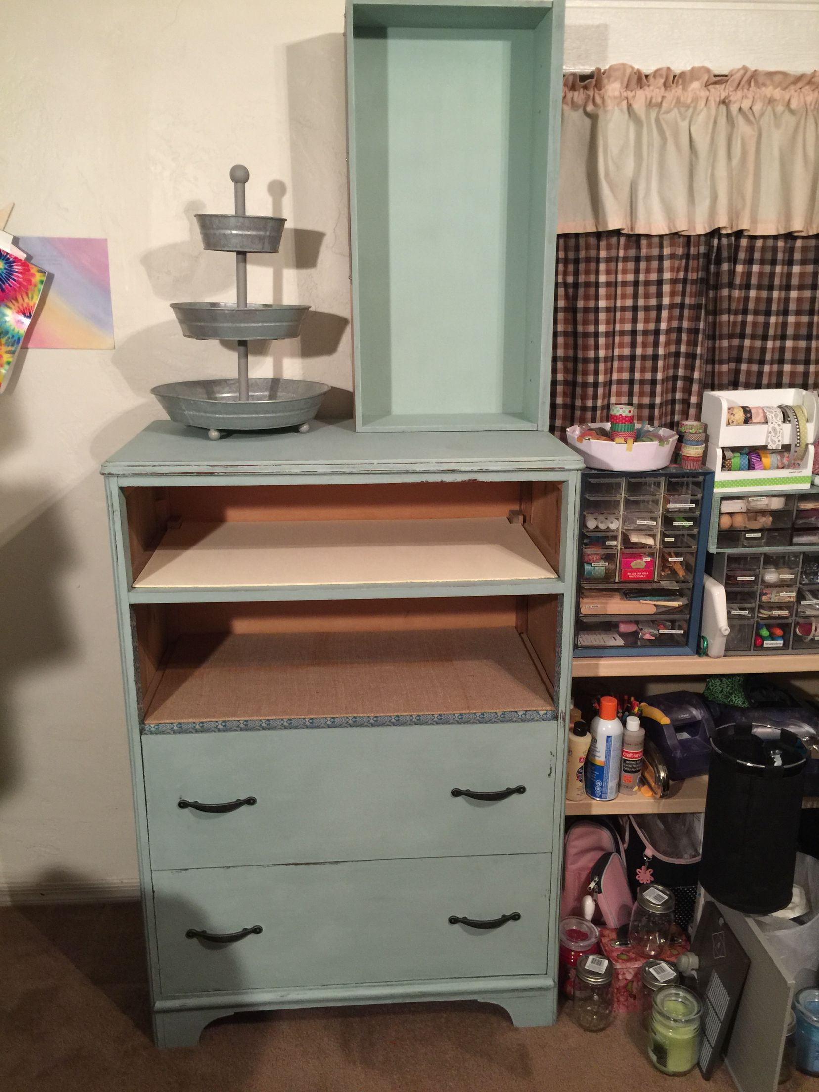 My first repurposed dresser, I turned in to a craft storage unit. The drawer on top was from the dresser and the inside is painted with chalkboard paint. The dresser is painted with #AnnieSloanchalkpaint #duckegg