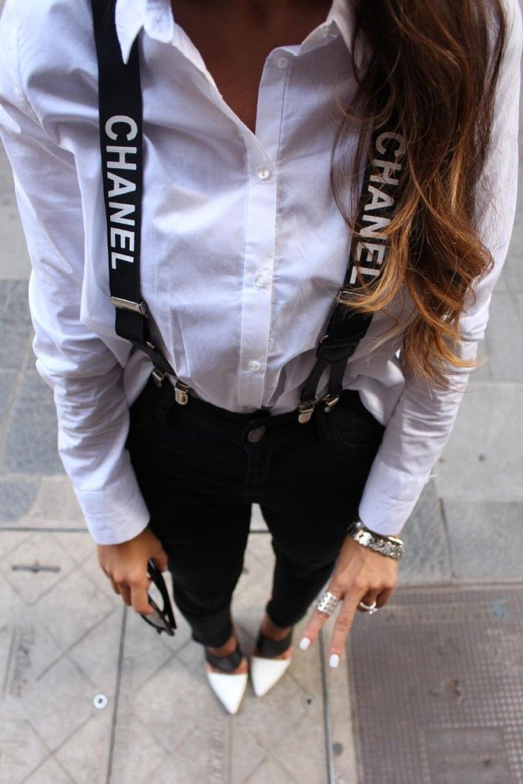 chanel suspenders. chanel suspenders with white blouse i