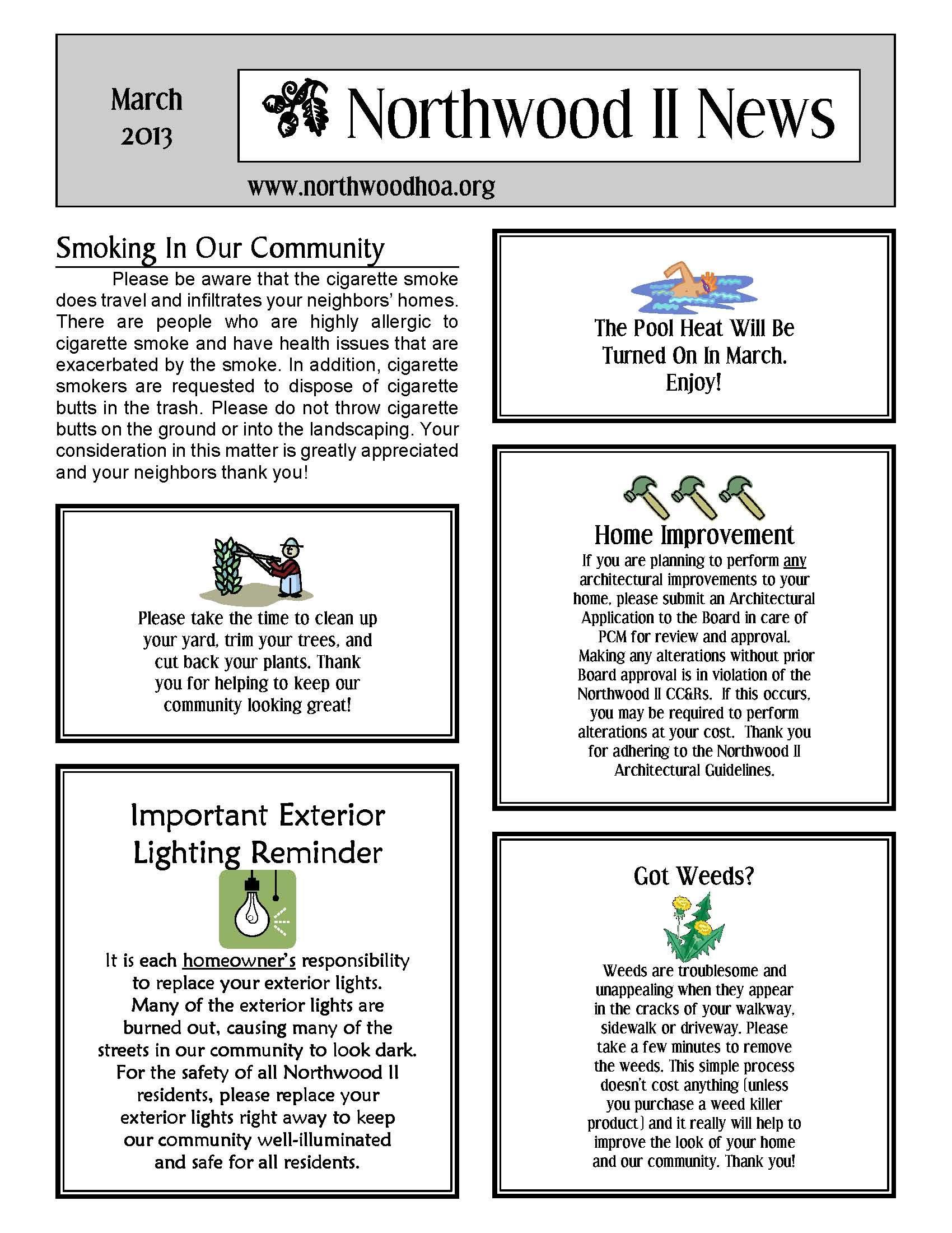 March 2013 Northwood Ii Nwii Hoa Community Association Newsletter Irvine Ca 92 Newsletter Templates Newsletter Template Free Newsletter Design Templates