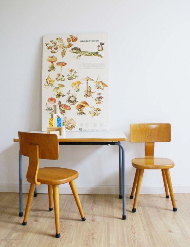 Betere 🌟Tante S!fr@ loves this📌🌟 Tof vintage tafeltje met 2 houten WG-58
