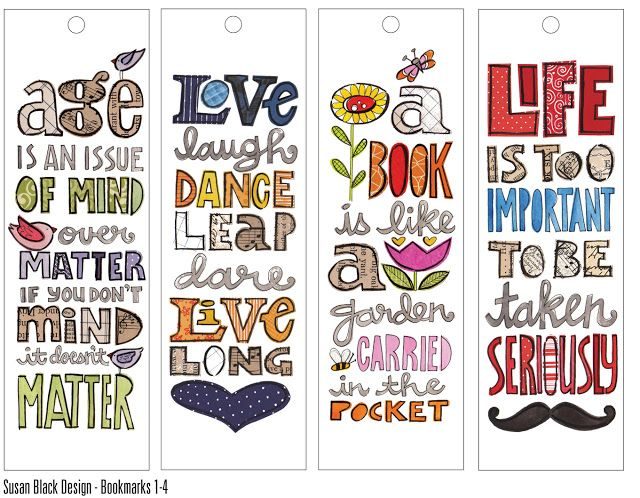 susan black design: C. bookmarks x 12 | typography | Pinterest ...