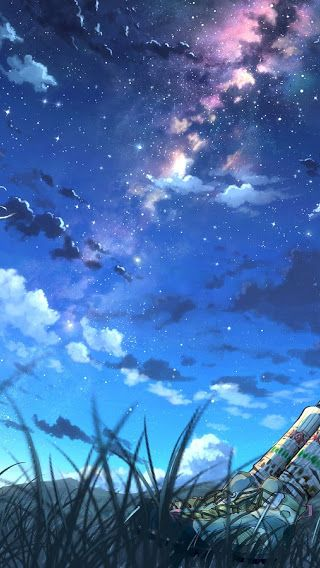 Anime Girls Night Sky Scenery Clouds Stars 3840x2160 Wallpaper Night Sky Wallpaper Night Scenery Anime Scenery