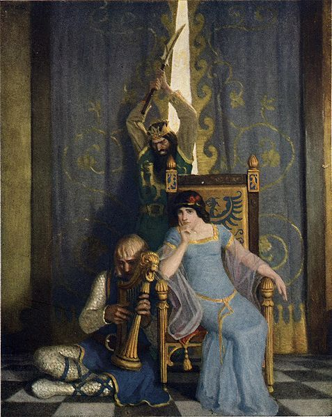 """Illustration from page 190 of The Boy's King Arthur: """"King Mark slew the noble knight Sir Tristram as he sat harping before his lady la Belle Isolde."""""""