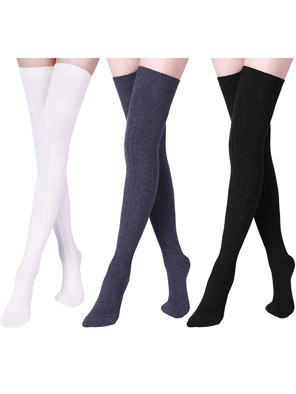 3fae647f3d0aa 3 Pares de Calcetines de Algodón Largos de Mujeres Calcetines Altos Sobre  la Rodilla Calcetines de Bota para Invierno de Mujeres Chicas