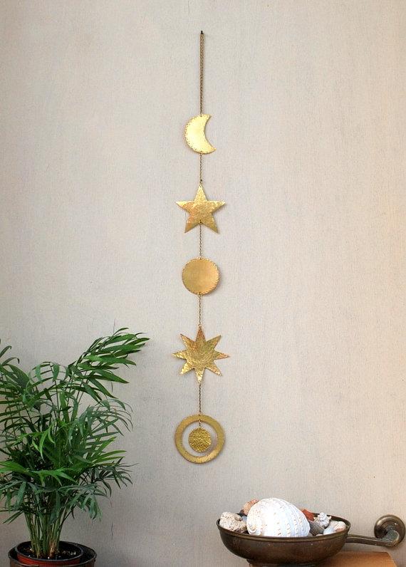Brass Wall Hanging Celestial Wall Decor Boho Mobile Sun Brass Wall Hanging Wall Hanging Boho Wall Decor