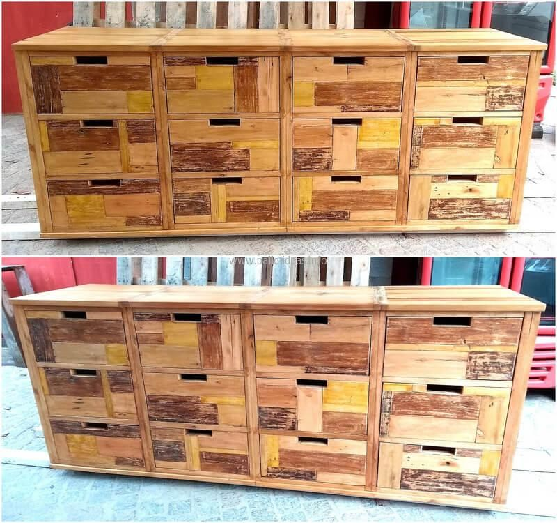 See another idea for entryway table with drawers, there are no handles attached to the drawers because there is a small hollow space which is to be used for taking out the drawers. The use of yellow color on the pallets is making it give a different look.