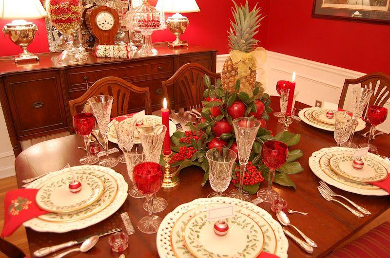 Christmas table setting with apple tree centerpiece be