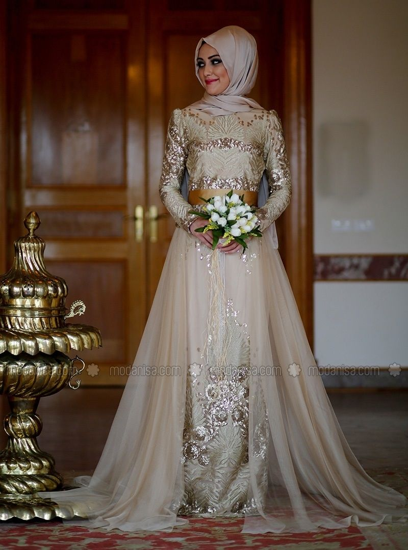 Kleopatra Elbise Gold Minel Ask Muslim Wedding Dress Hijab Bride Hijab Bride Muslim Wedding Gown