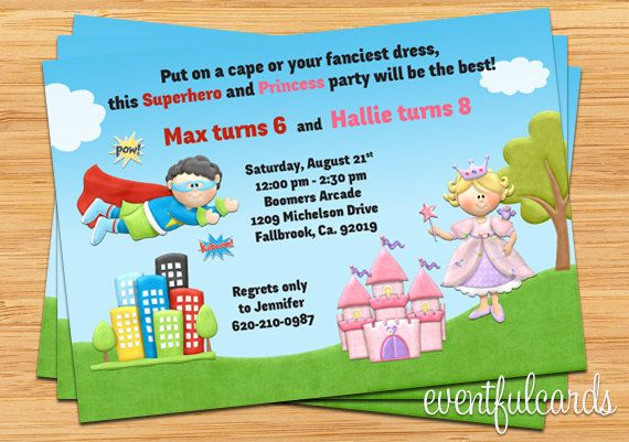 kids superhero and princess birthday party invitation super hero
