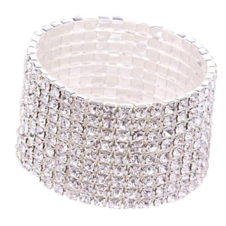 Susenstone rhinestone stretch silver bracelet for wedding prom party