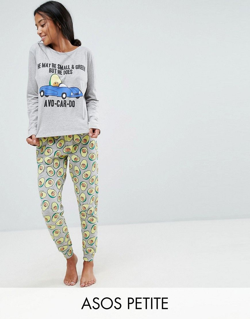 Avo-Car-do Long Sleeve Tee and Legging Pyjamas Set in grey  dc3e21866