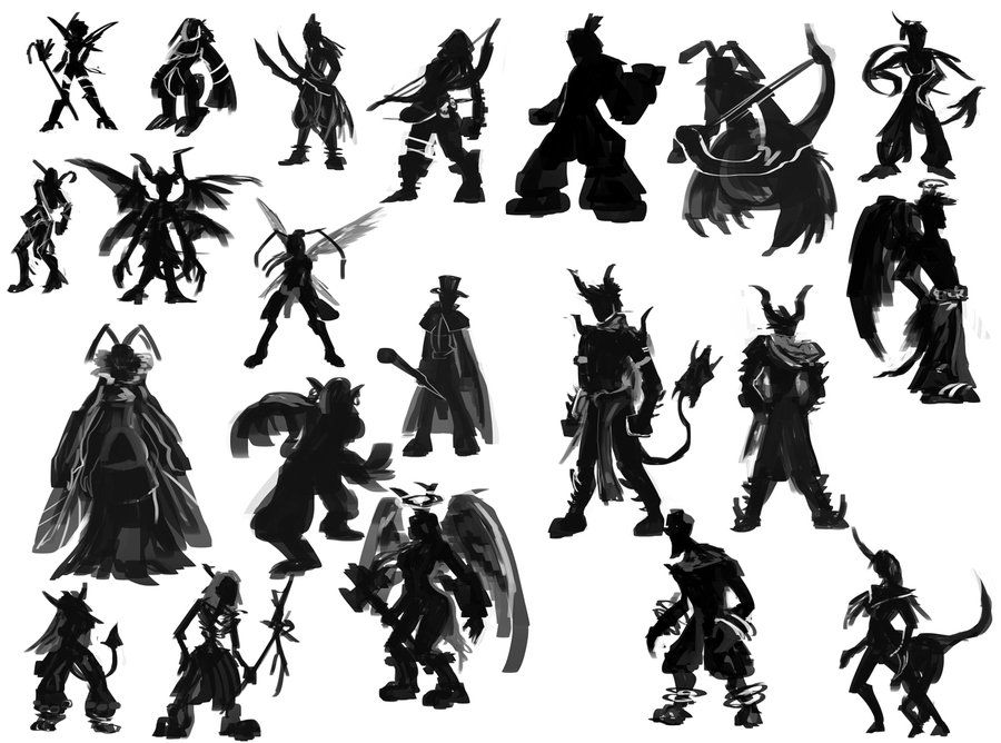 Character Design Silhouette : Character silhouettes by jacare d fidzh g