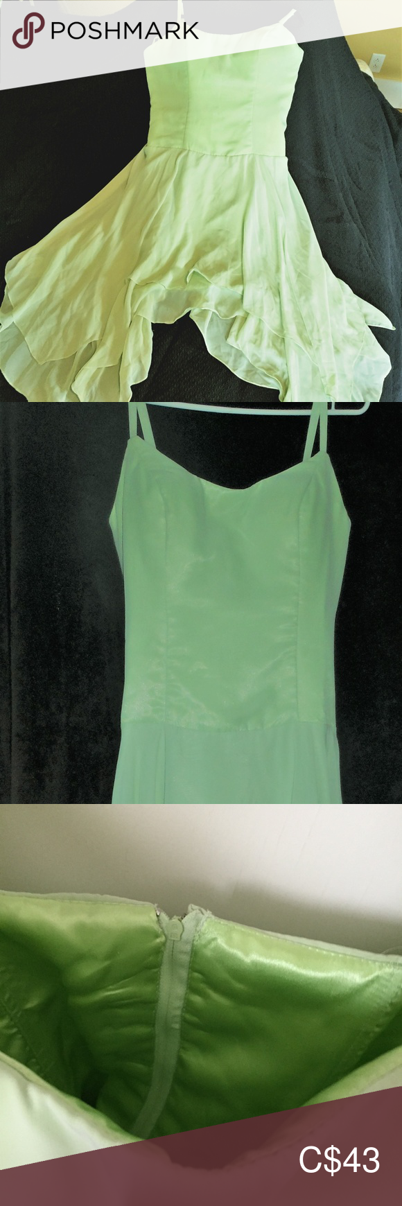 COCKTAIL DRESS - Sage Green,knee, spaghetti strap #sagegreendress COCKTAIL DRESS - Sage Green,knee, spaghetti strap Never worn - Bought for a bridesmaid dress but it got cancelled. No defects. Size L. This seasons popular Sage Green  , well constructed with boning in bodice for shape, Shark tooth hemline starting at knee. New, Size L. Dresses Asymmetrical #sagegreendress COCKTAIL DRESS - Sage Green,knee, spaghetti strap #sagegreendress COCKTAIL DRESS - Sage Green,knee, spaghetti strap Never worn #sagegreenbridesmaiddresses