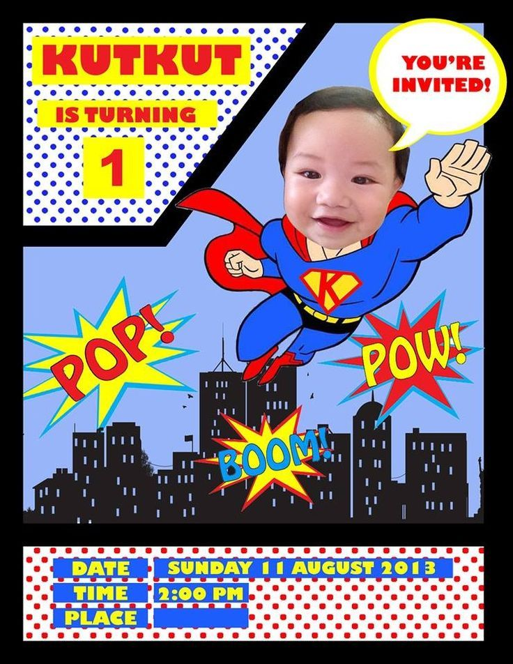 Colors Free Printable Superman Birthday Invitation Template With