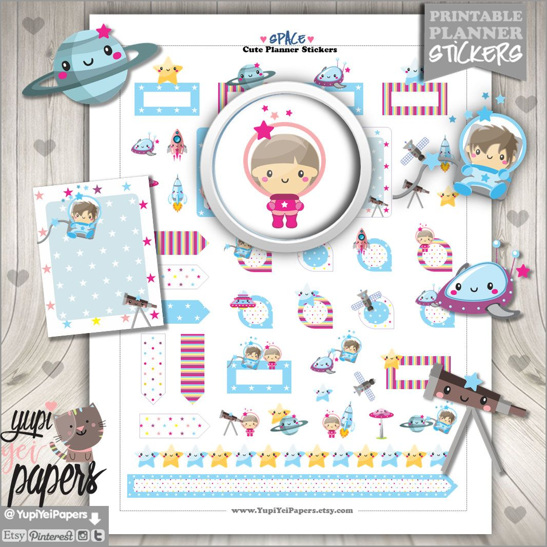 Space Stickers, Planner Stickers, Kawaii Stickers, Cute Stickers, Space Kids, Planner Accesories, Rocket, Stars, Erin Condren, Universe