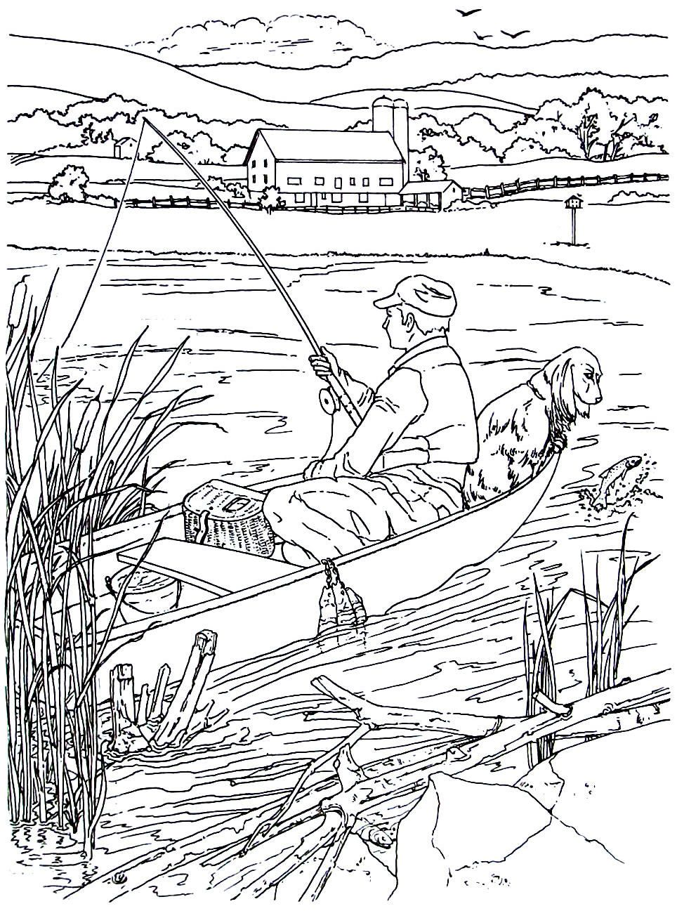 Fishing in a rowboat - living in the country coloring book page ...