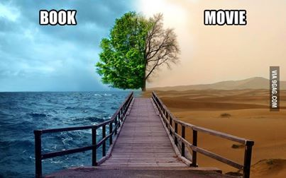 book vs. movie <----- The water is feels<-------the tree is the plotline<-----the sky is the characters