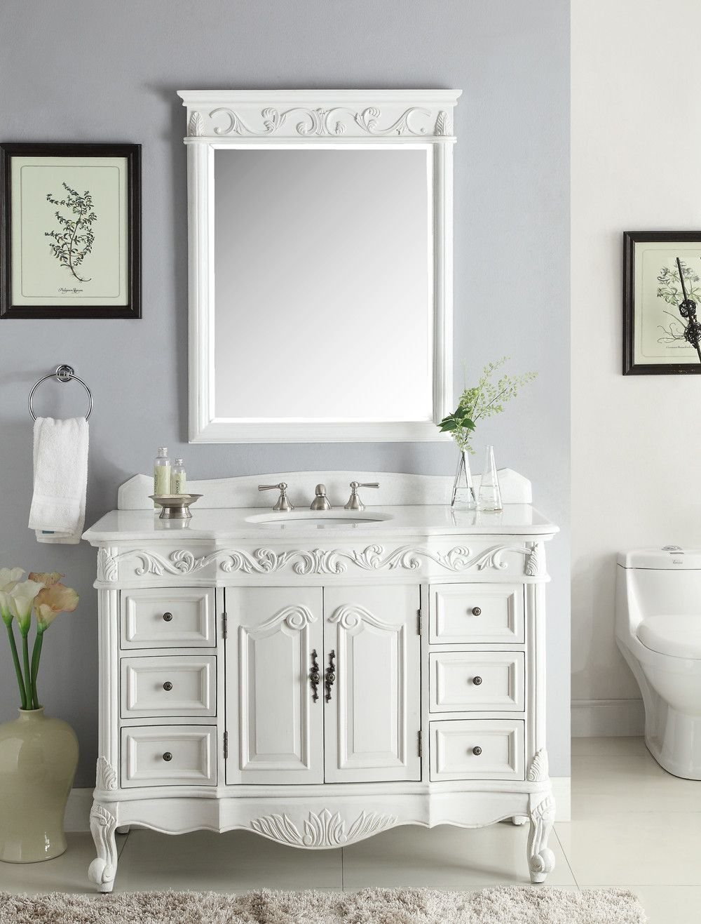 "Antique White Bathroom Cabinets 48"" beckham bathroom sink vanity & mirror set, antique white sw"