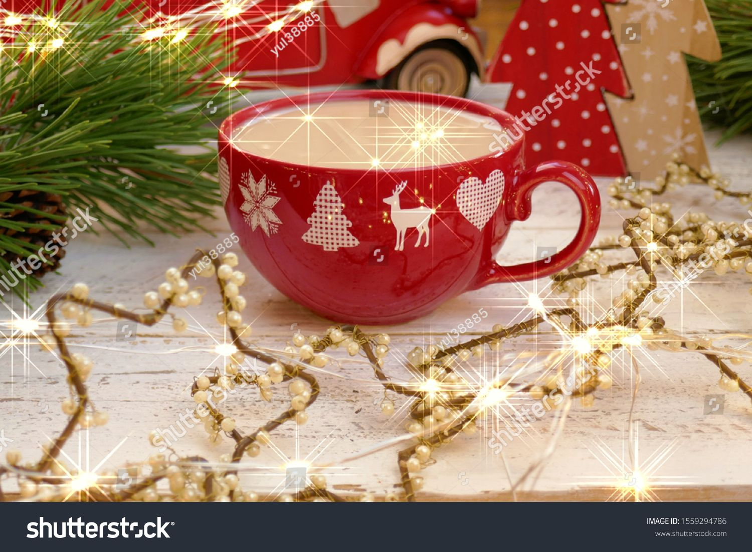 Christmas Hot Drink Coffee In A Red Mug With Deers Christmas Decor Spruce Branch With Shining Highlights Garland Winter Holidays New Red Mug Mugs Hot Drink Hd wallpaper red mug garland light