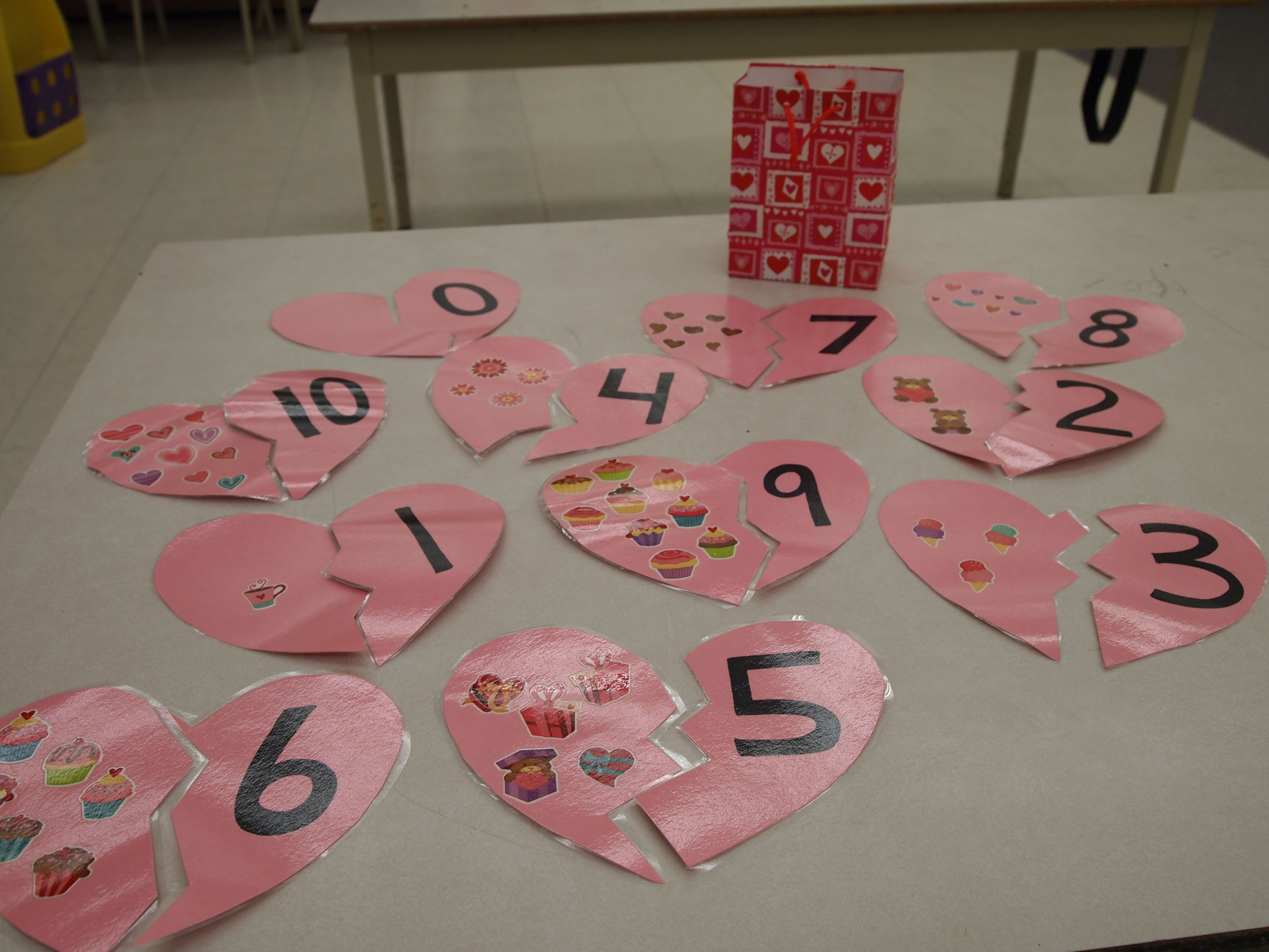 Heart Number Matching Game I Made This With Foam Hearts