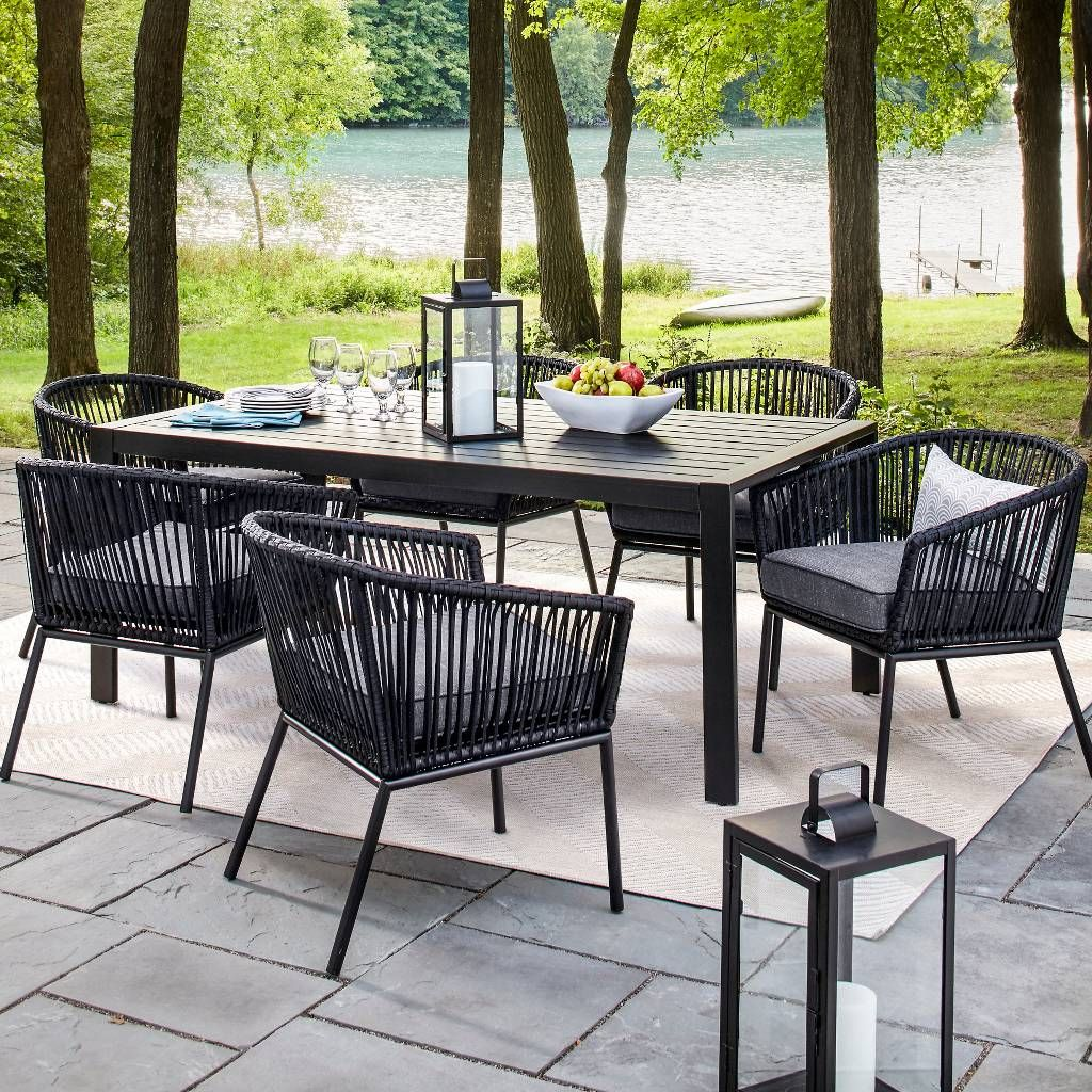 Outdoor Dinning Chairs And Table Anthracite Modern Style Light