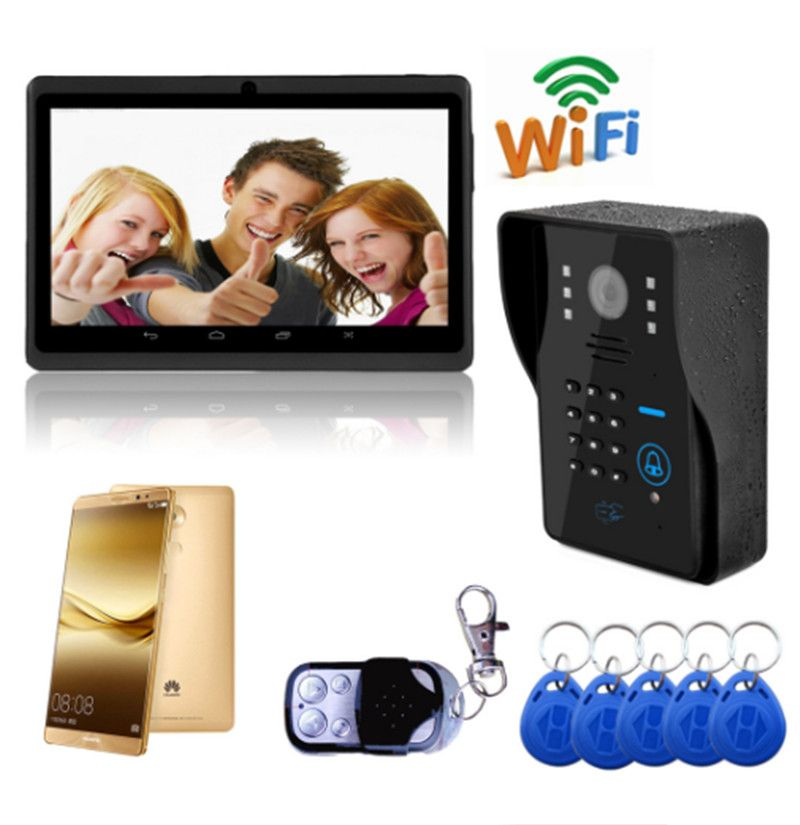 720P Wireless WIFI IP Doorbell Password& ID Card & Remote Control ...