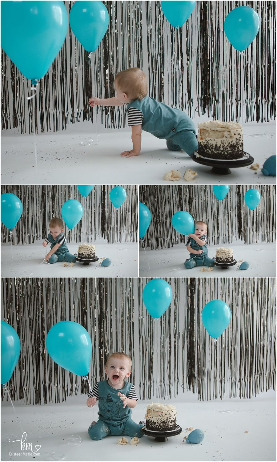 Teal Balloon Cake Smash Session A Indianapolis Photographer Birthday Balloons 1st Birthday Party Themes Teal Balloons