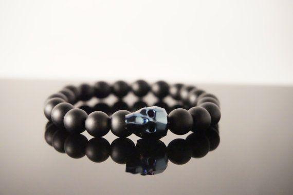 Skull Bracelet  Beaded Stretch Bracelet  by YariManieDesigns