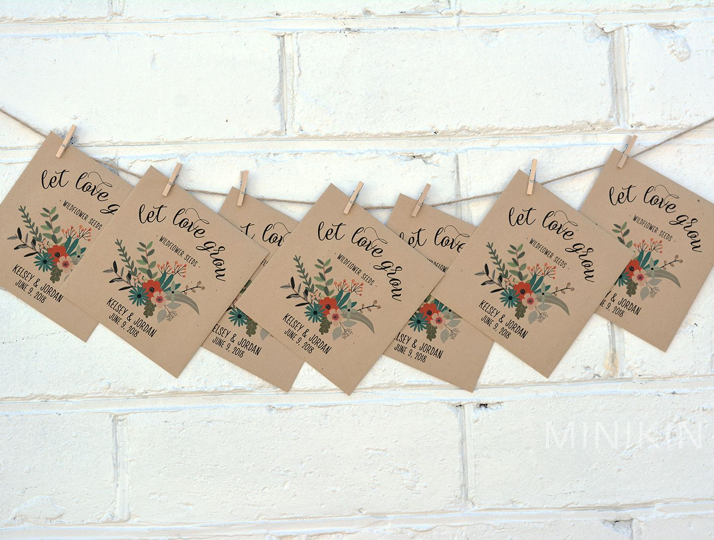 Custom Kraft Seed Packet Favors Great For Rustic Wedding Bridal
