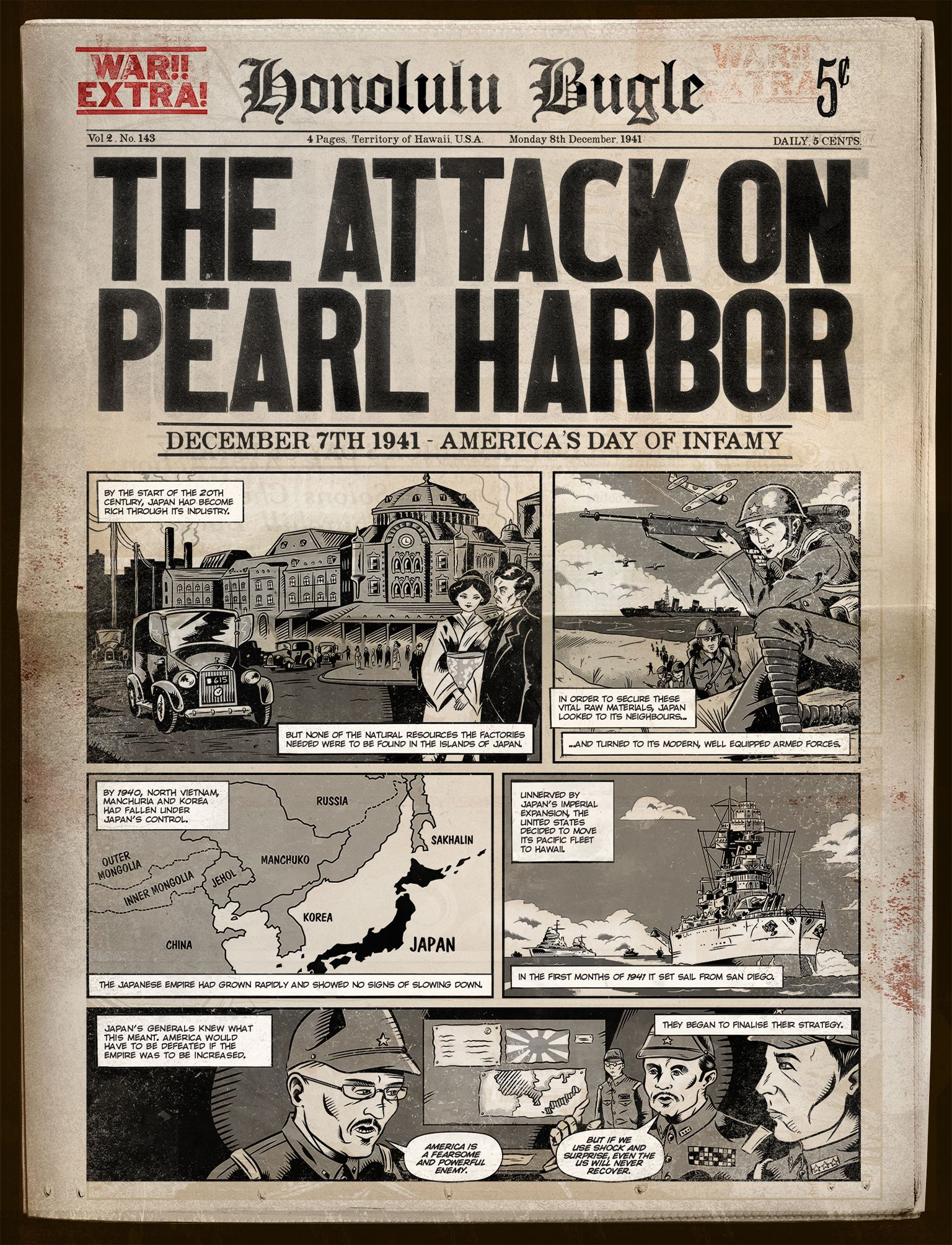1st Page Of Pearlharbor Comic Comics History Learning