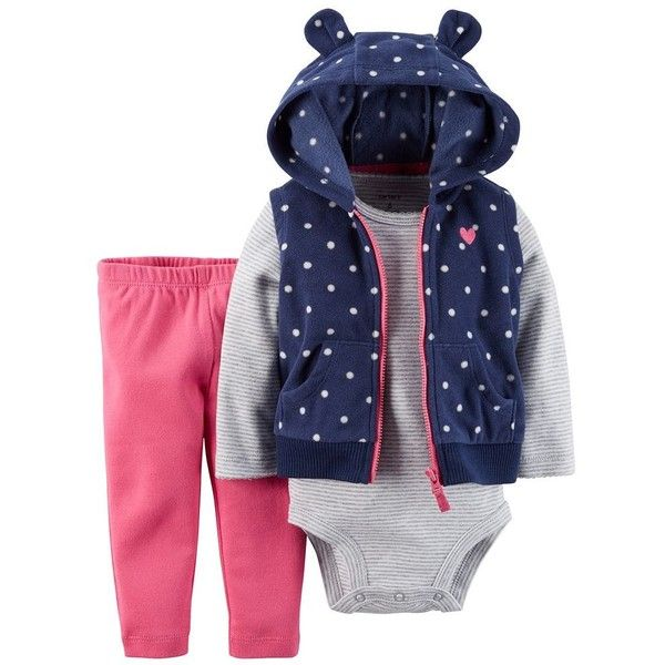 Baby Girl Carter's Polka-Dot Microfleece Vest Set ❤ liked on Polyvore featuring baby and baby girl