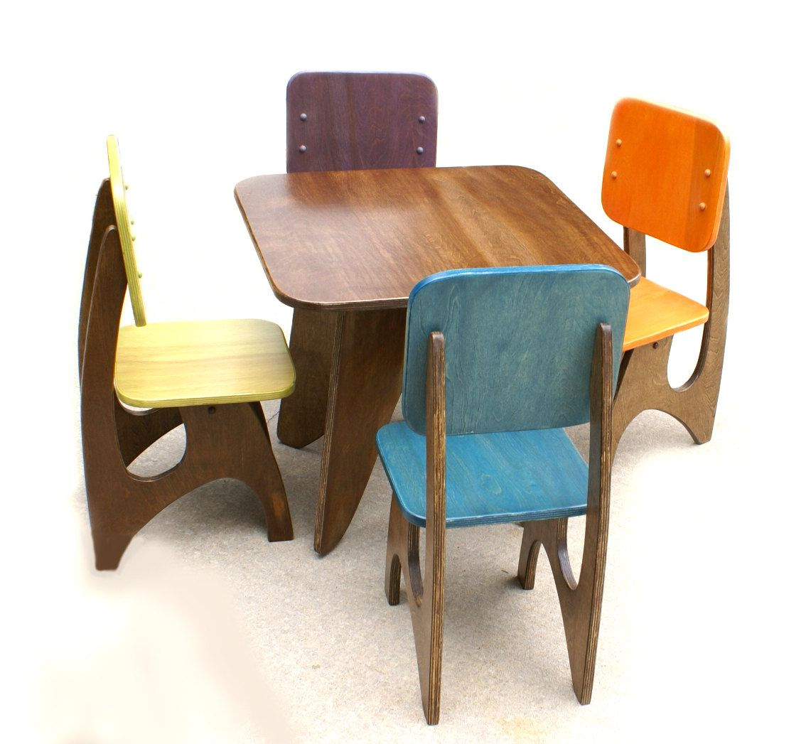 48 X 30 Modern Child Table Set With 6 Chairs Toddler Table