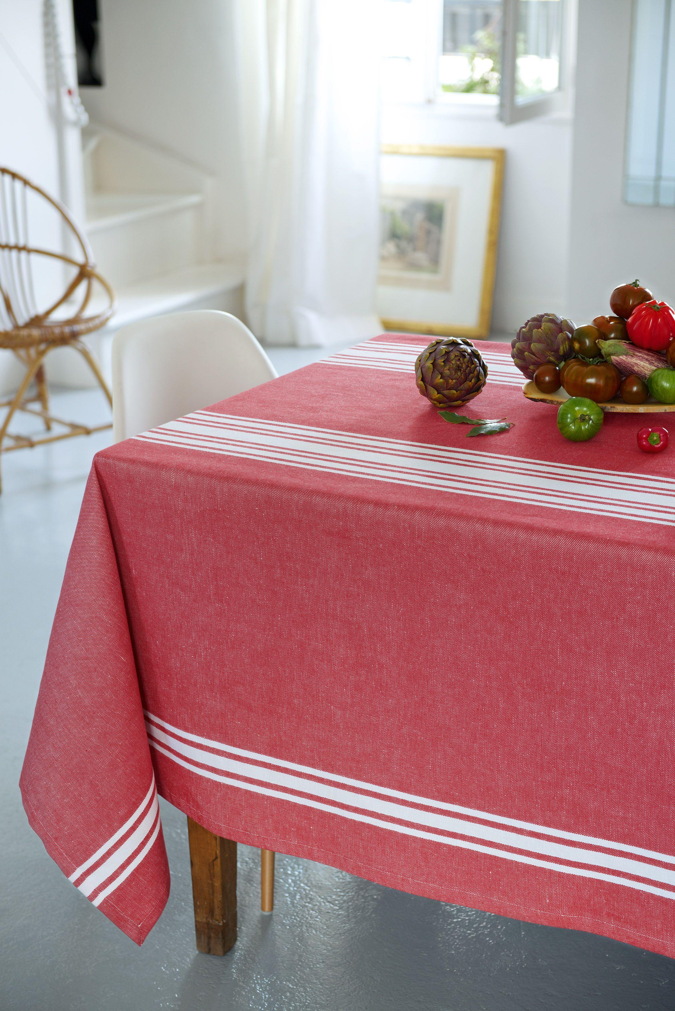 Nappe Coton Jean Vier Saint Jean De Luz Cerise Tablecloth