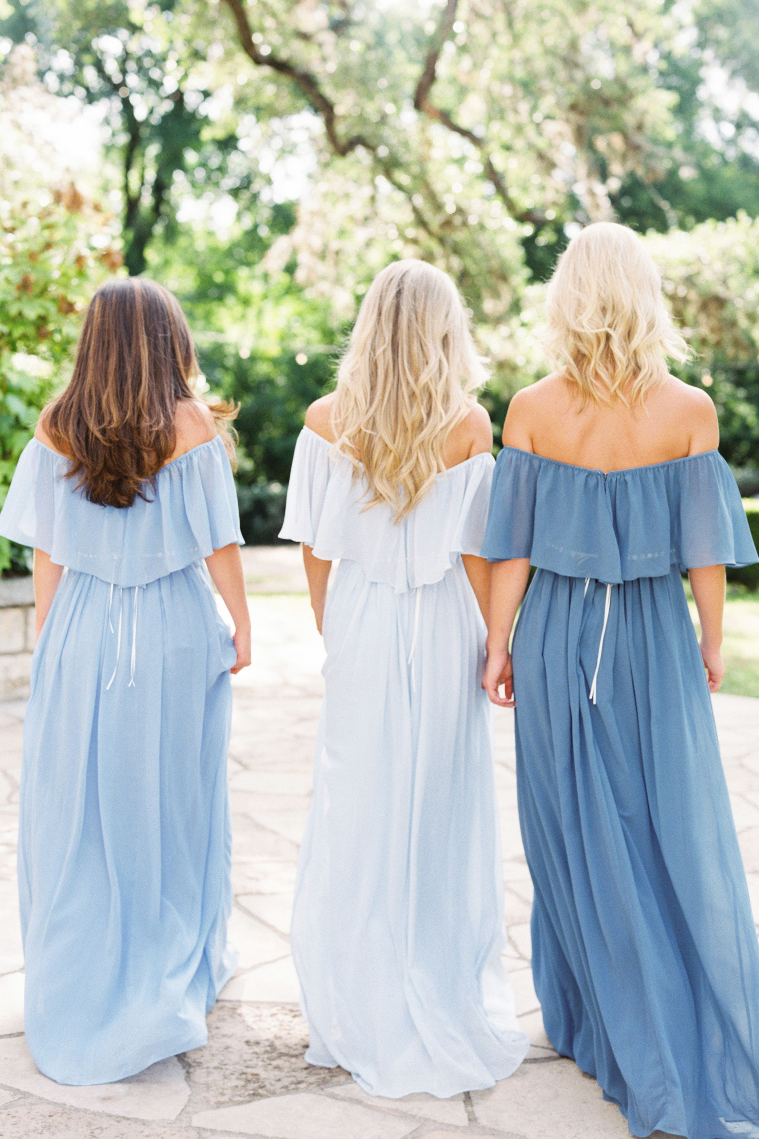 Boho off the shoulder bridesmaid dress