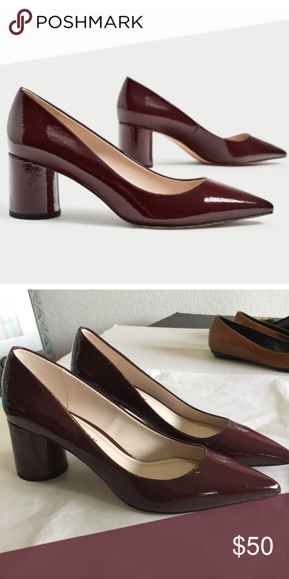 935f71cbeb26 ✨ZARA✨Burgundy Patent Block Heels ZARA Patent Block Pumps Patent leather  pumps with a circle block mid heel Color  Burgundy Euro size 39   US size  8.5 ...