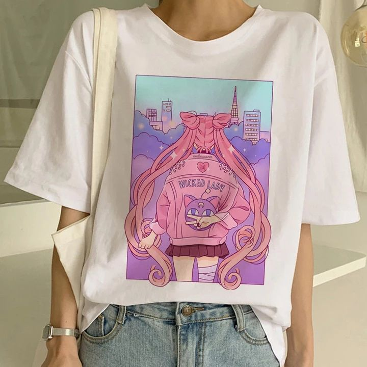 ALL 378.42 31% Off | Sailor Moon Summer New Fashion T Shirt