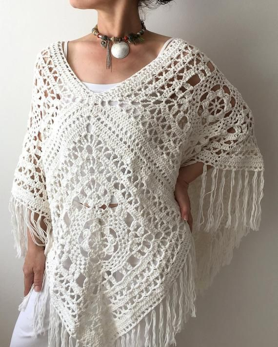 Crochet poncho, boho cape, granny square poncho, ivory cream cover up, cotton cape, fringed poncho, lacy summer top, poncho for women