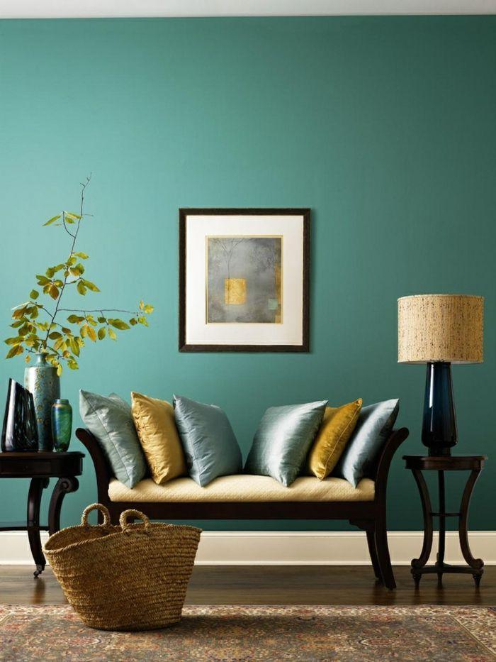 1001 Idees Creer Une Deco En Bleu Et Jaune Conviviale Deco Salon Idee Deco Salon Salon Bleu Canard