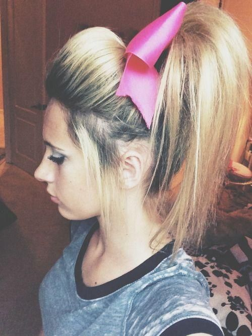 Pin By Emily Hild On Hairstyles For Long Hair Cheerleading Hairstyles Cheer Hair Cheer Ponytail