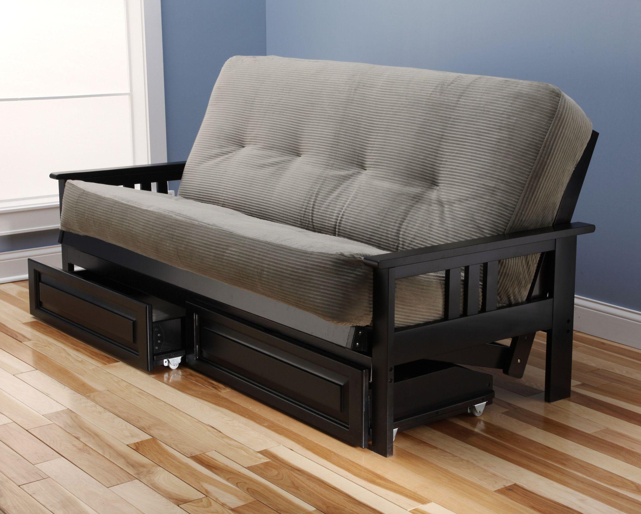 Woodbury Full Size Futon Sofa and Drawer Set Black Painted