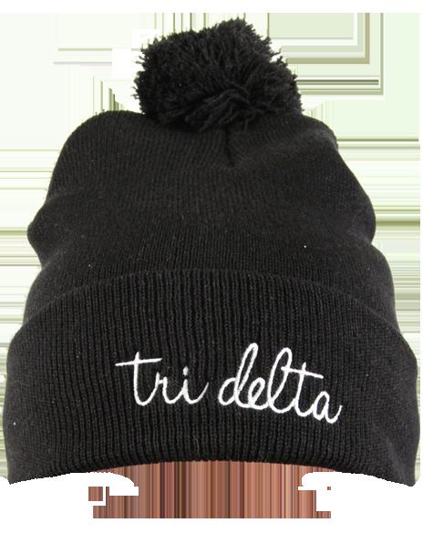 d30c55962eb Delta Delta Delta Fuzzy Ball Beanie by Adam Block Design